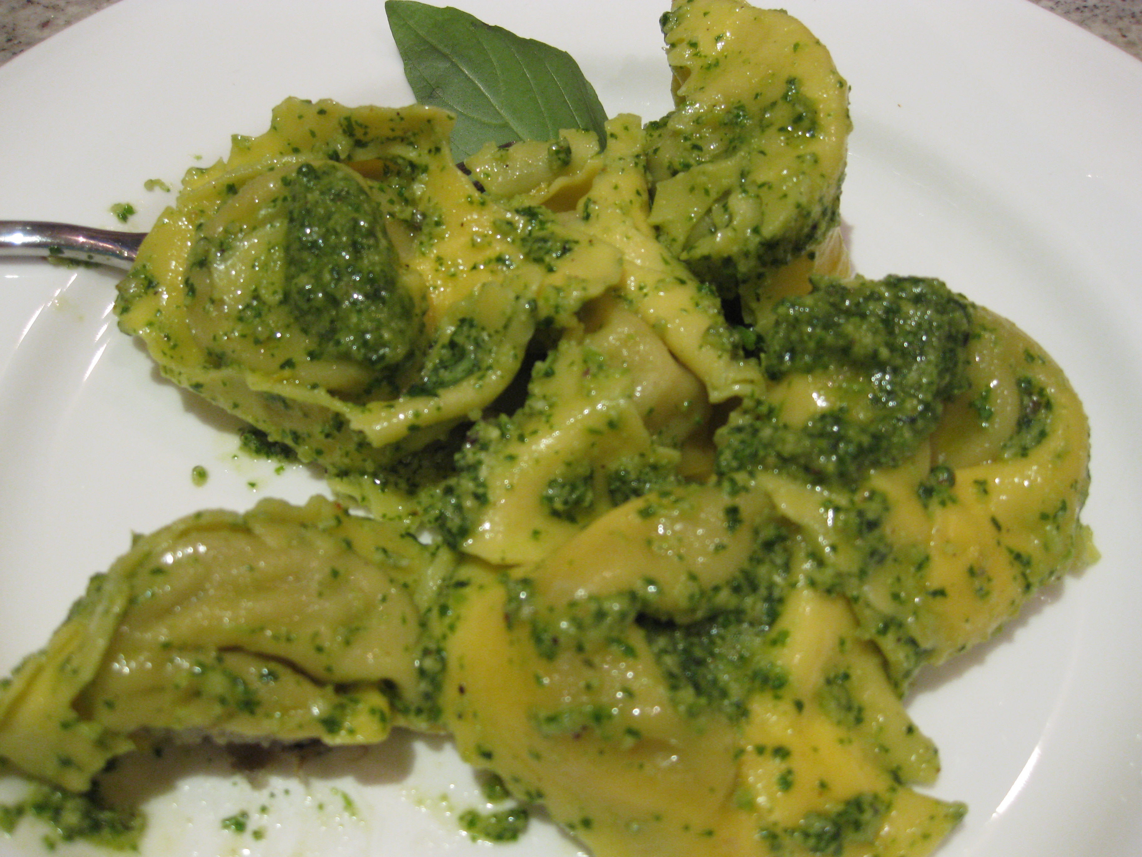 Artichoke ravioli with homemade pesto