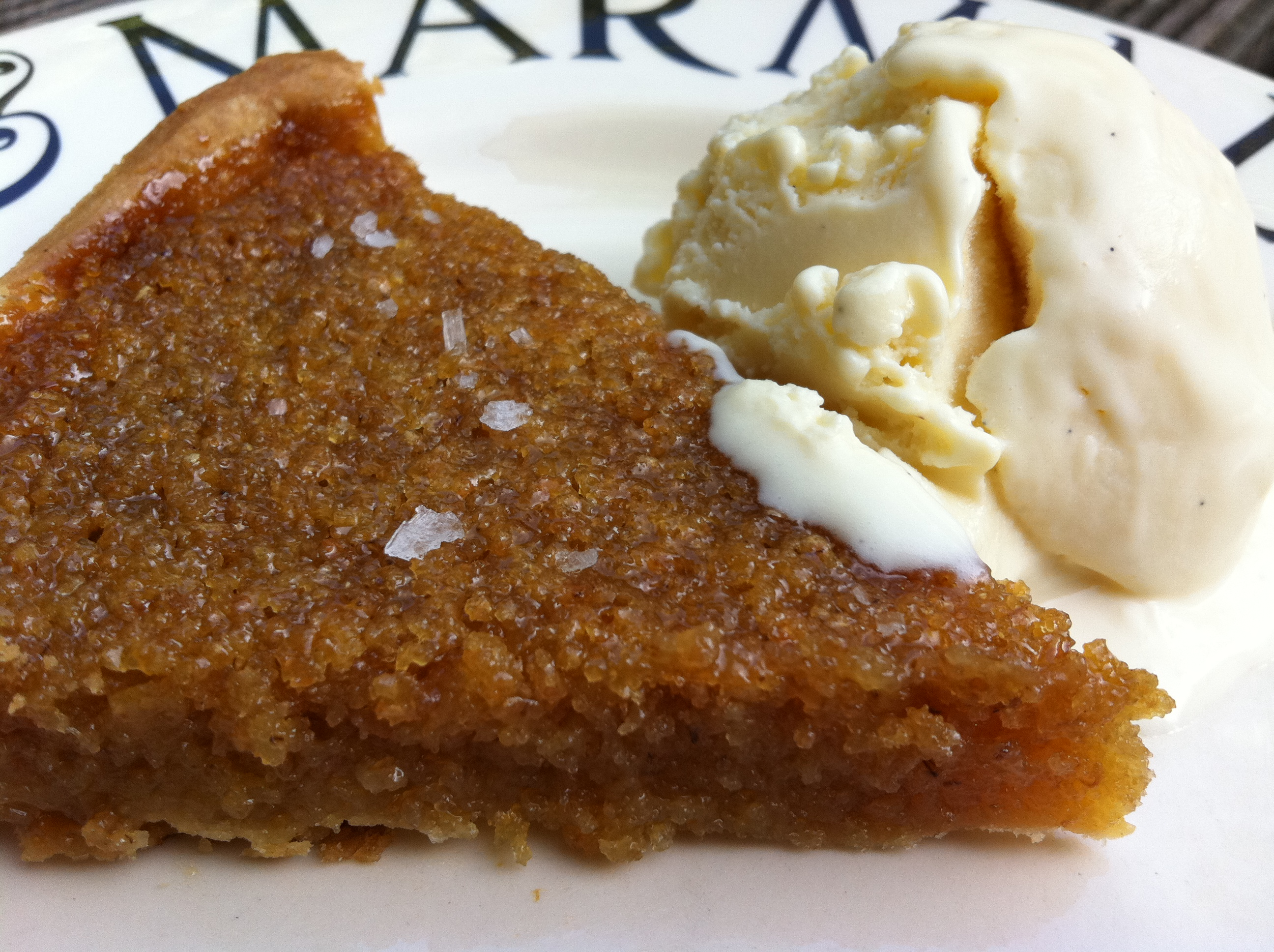 Treacle Tart With Rosemary Salt Clotted Cream Ice Cream Thelittleloaf