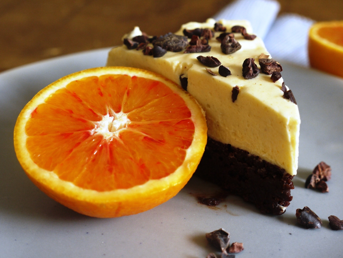 ... chocolate orange mousse cake topped with a spiced white chocolate
