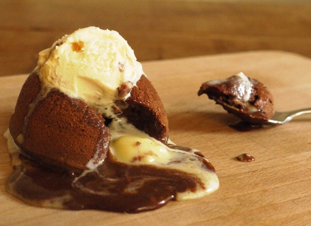 ... chocolate mint ganache puddles out of this dark chocolate fondant