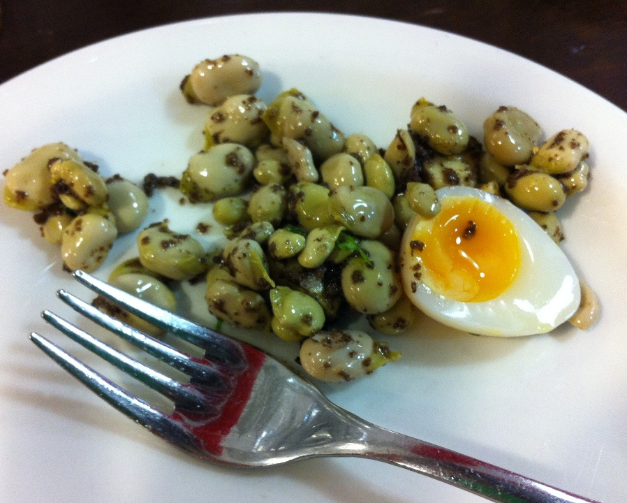 broad beans, truffle and quail's egg