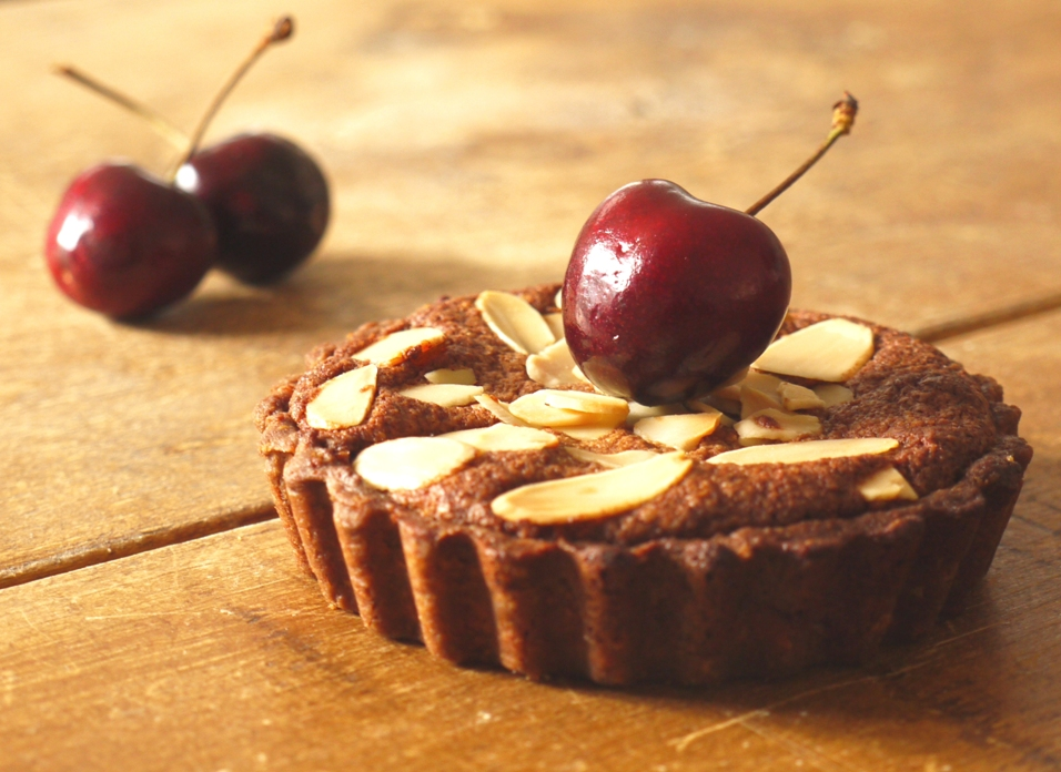 Chocolate almond pastry, chocolate frangipane & sweet, fresh cherries