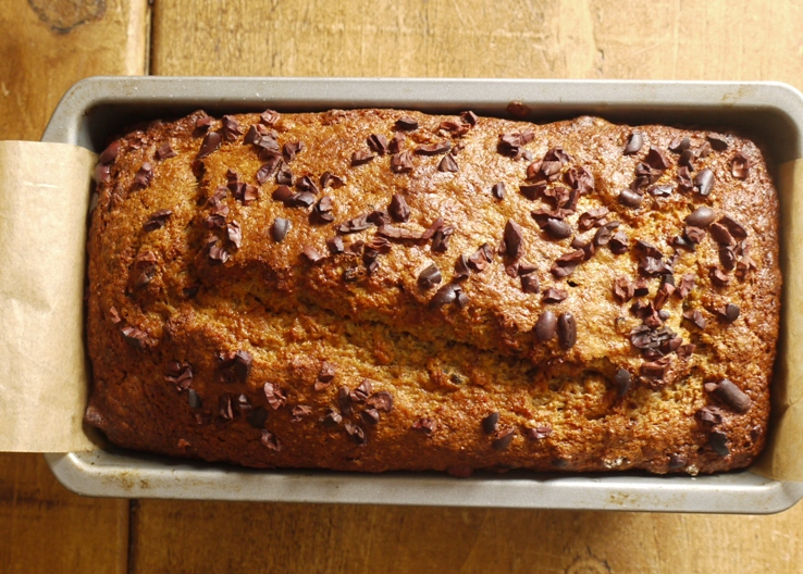 Maple Walnut Banana Loaf with Crunchy Cocoa Nibs
