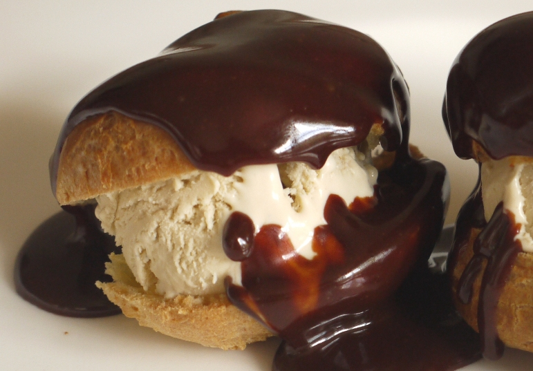 Coffee Ice Cream Profiteroles with Hot Chocolate Caramel Sauce