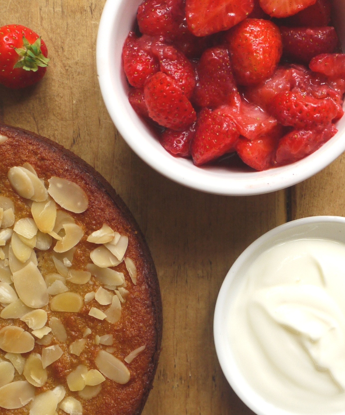 Honey Almond Cake with Spiced Strawberries