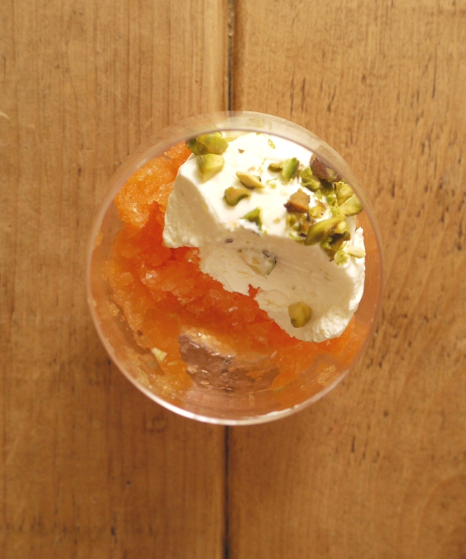 Chamomile Cantaloupe Granita with Lime Yoghurt Mousse