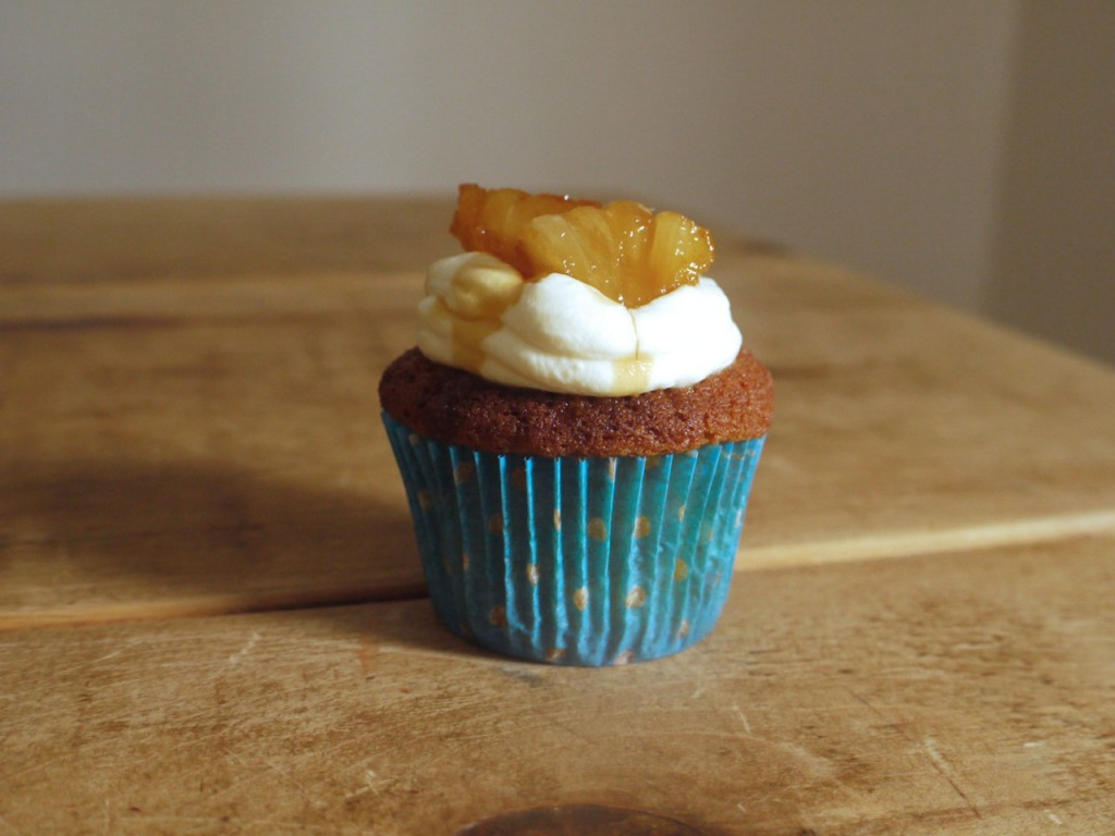 Caramelized pineapple + ginger cupcakes