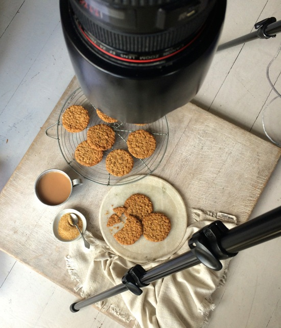 Homemade hobnobs photoshoot