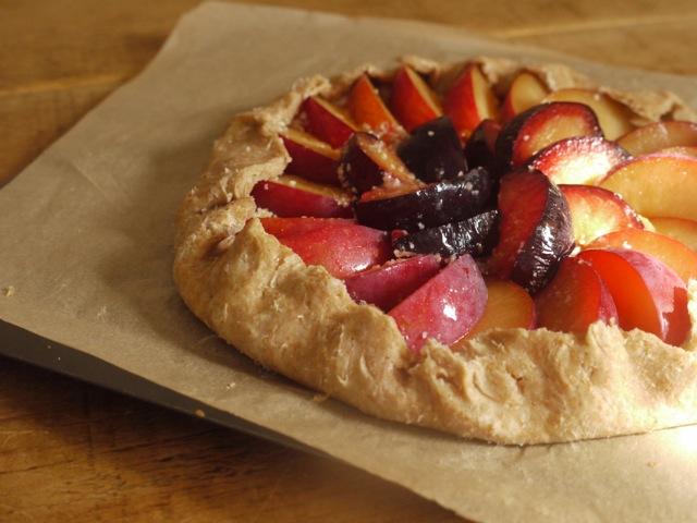 Blackberry, plum & almond galette before baking
