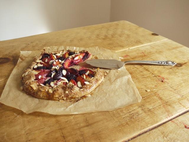 Blackberry, plum & almond galette landscape