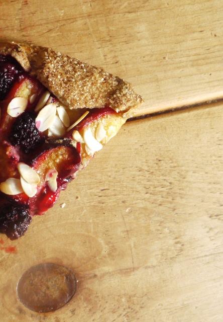 Blackberry, plum & almond galette slice