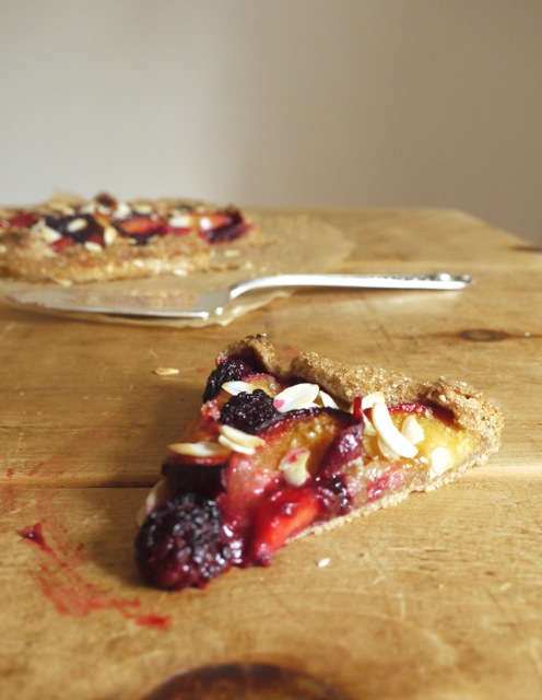 Blackberry, plum & almond galette sliced