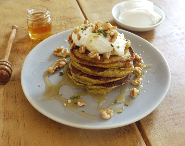 Courgette & cornbread pancakes, walnuts, honey, yoghurt