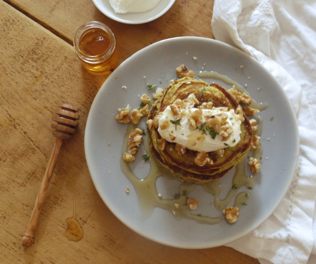 Courgette & cornbread pancakes with honey