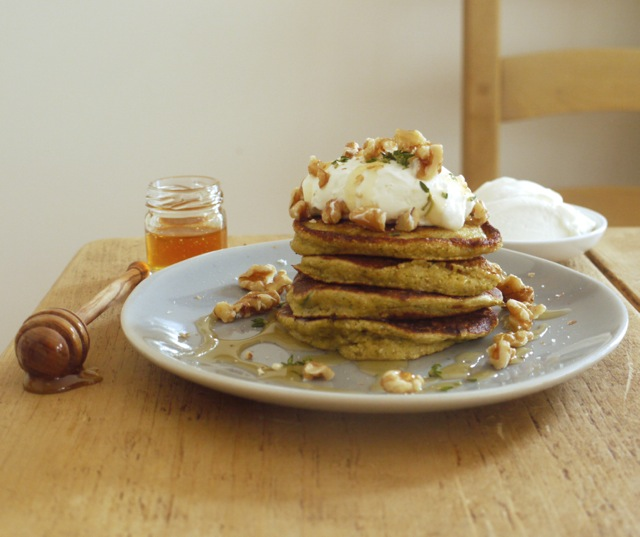 Courgette & cornbread pancakes with yoghurt