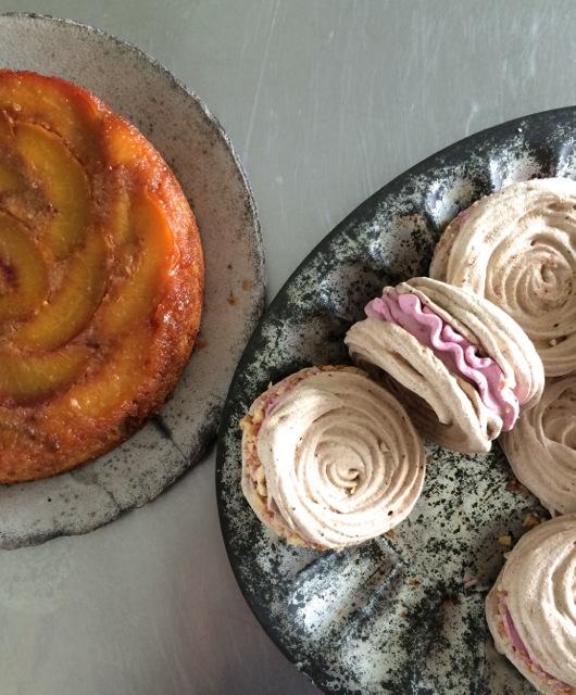 upside down cake meringues