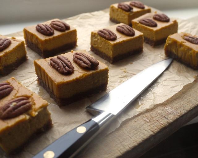 Pumpkin pecan shortbread squares