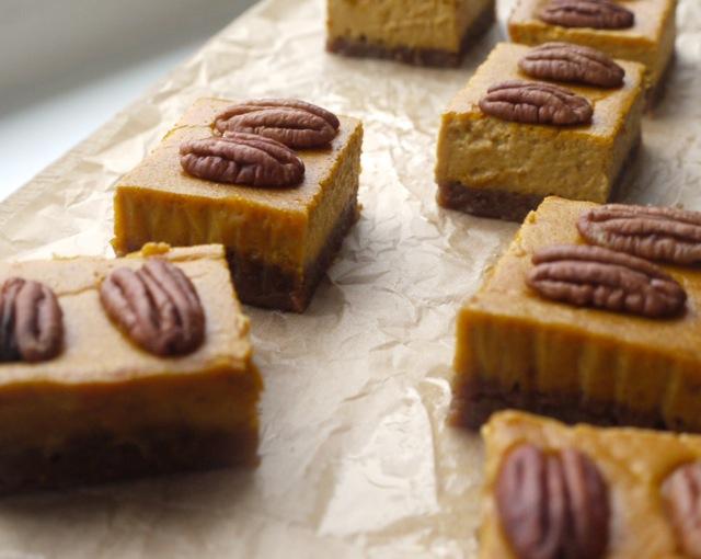 Pumpkin pecan shortbread bars