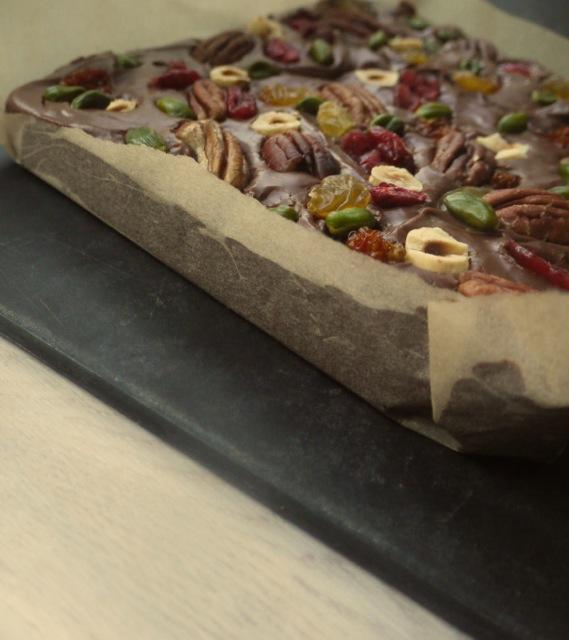 Chocolate fudge cranberries pistachios