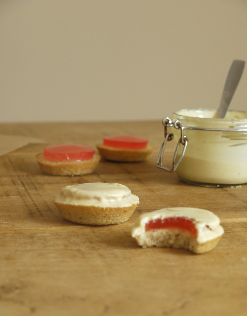 Rhubarb White Chocolate Jaffa Cakes