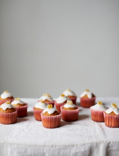 Pink grapefruit poppy seed cupcakes