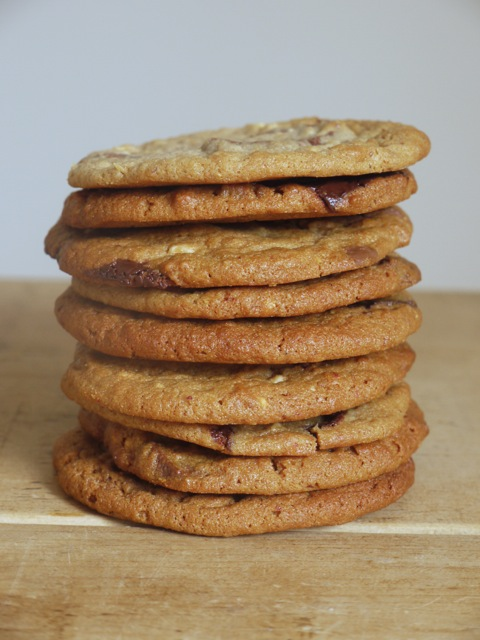 Stack of Wholemeal Peanut Butter Chocolate Chunk Cookies