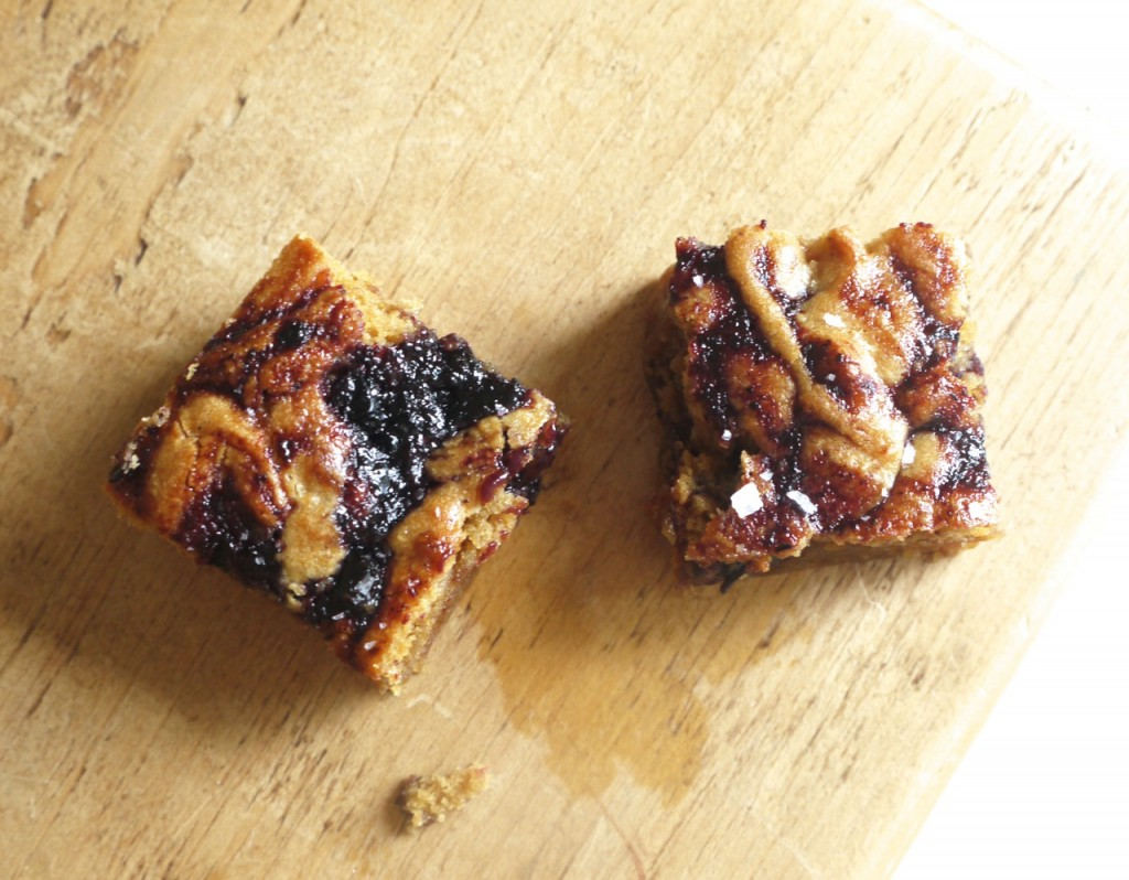 Peanut Butter & Blueberry Jam Blondies