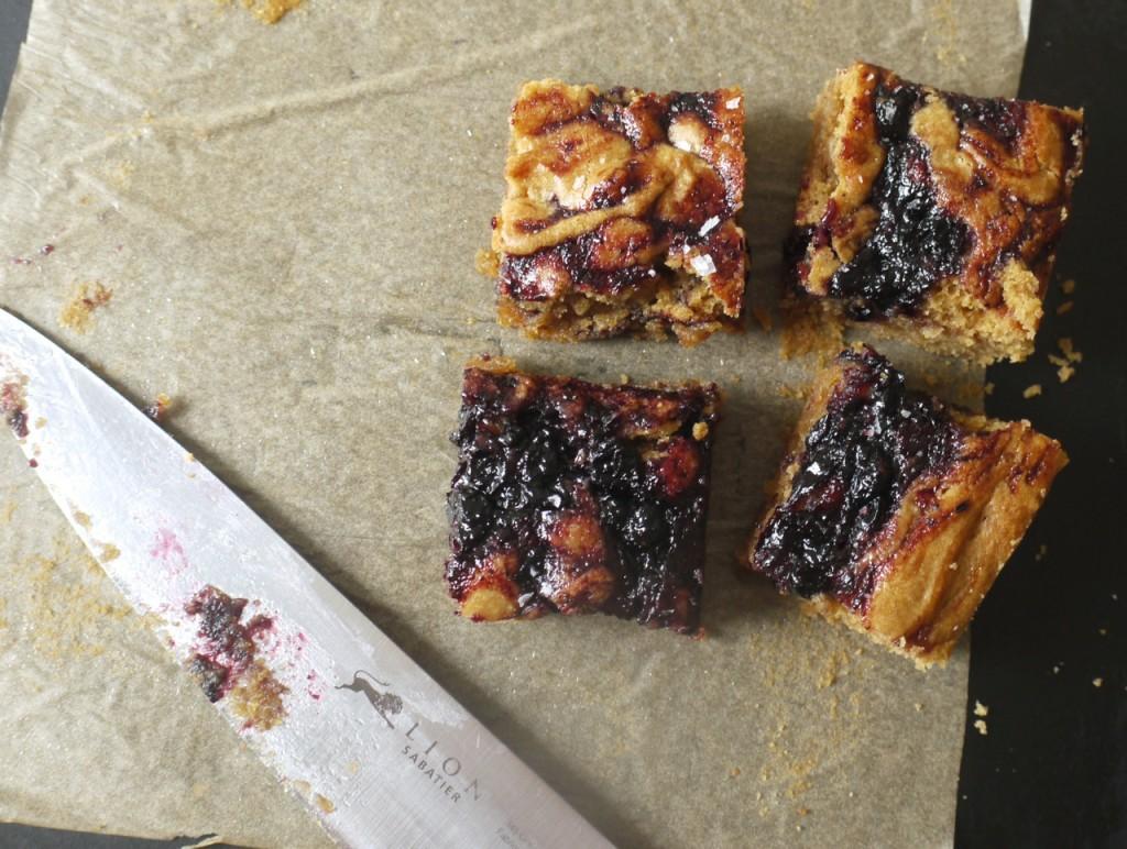 Peanut butter blueberry jam blondie squares