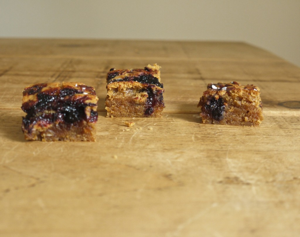 Squidgy peanut butter blondies with jam swirl