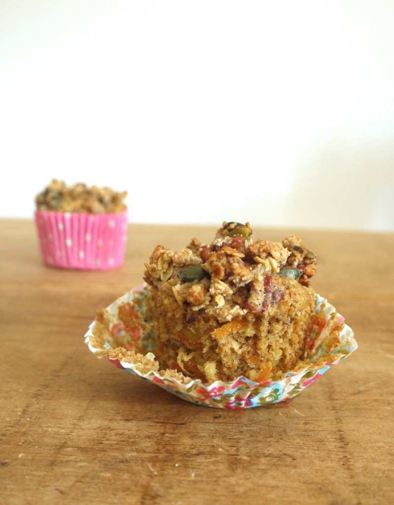 Carrot Apple Crumble Muffins eating