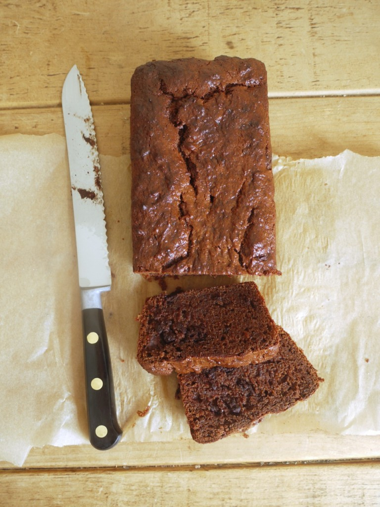 Chocolate Apricot Loaf Cake slice
