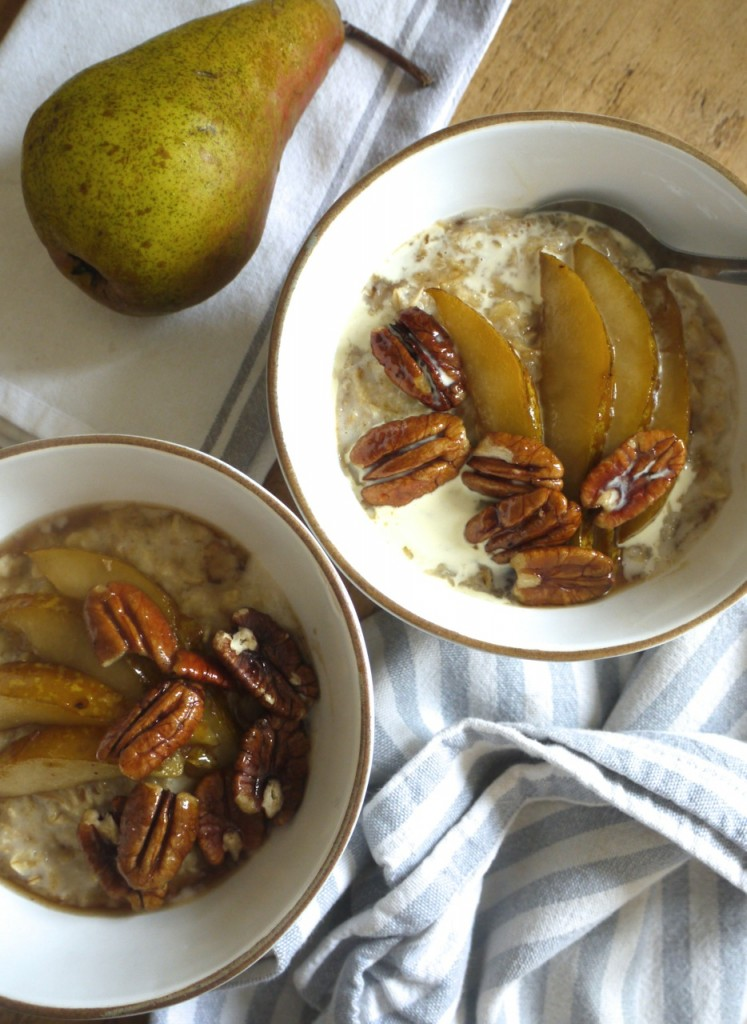 Chai spiced porridge with mapled pears & pecans & cream