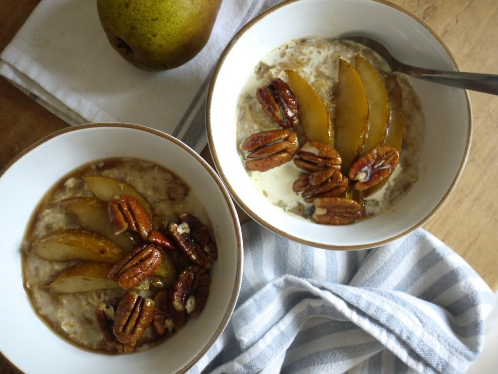 Chai spiced porridge with mapled pears & pecans & cream