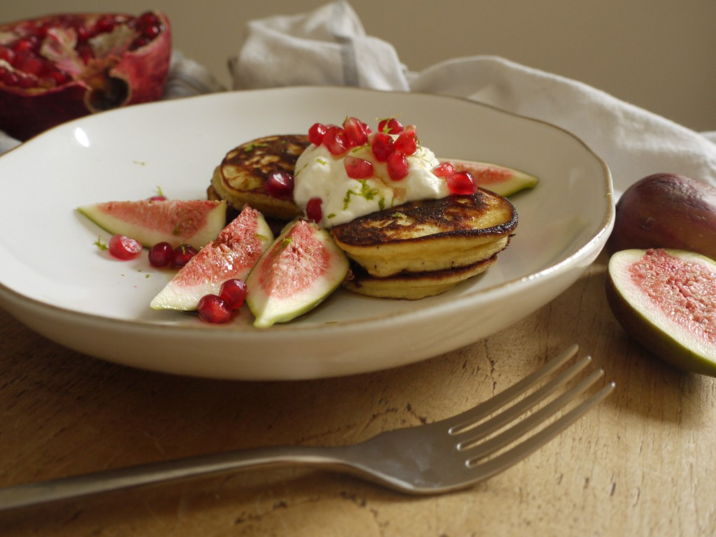 Coconut Pancakes with Pomegranate & Figs - Breakfast