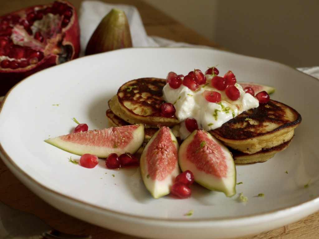 Coconut Pancakes with Pomegranate & Figs Breakfast Plate