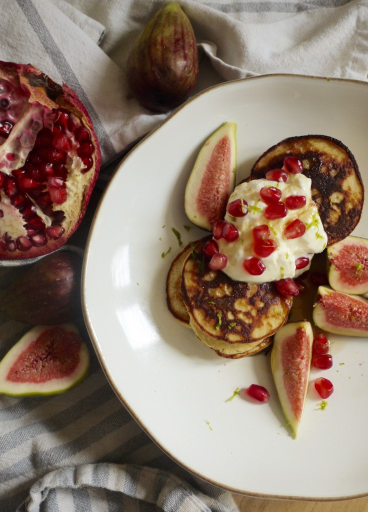Coconut Pancakes with Pomegranate & Figs - thelittleloaf