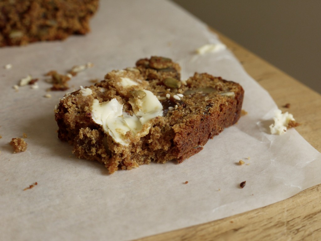 Date, Apricot & Walnut Loaf Cake with Butter