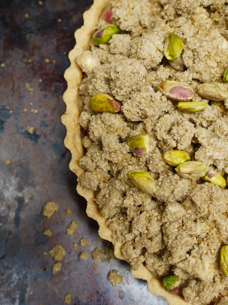 Rhubarb Rye Crumble Tart before baking