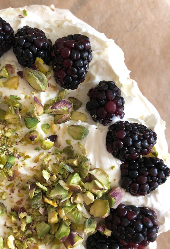 Blackberry pistachio meringue